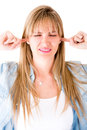 Woman refusing to hear Royalty Free Stock Photo