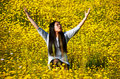 Woman rejoicing the coming of spring Royalty Free Stock Photo