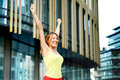 Woman rejoicing success Royalty Free Stock Photo