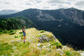 Woman relax and look at fascinating landscape of mountains in montenegro Royalty Free Stock Photos