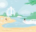 Woman relaxes in the tropics illustration Stock Photo