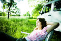 Woman relaxing Royalty Free Stock Image