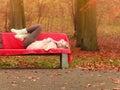Woman Relaxing In Autumn Fall ...