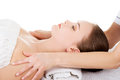 Woman relaxing beeing massaged in spa saloon Stock Photo