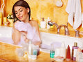 Woman relaxing at bubble bath beauty Royalty Free Stock Images