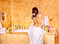 Woman relaxing at bubble bath water in Royalty Free Stock Photography