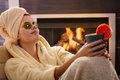 Woman relaxing in facial mask Royalty Free Stock Photo