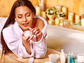Woman relaxing at home bath luxury Stock Images