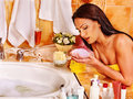 Woman relaxing at home bath luxury Royalty Free Stock Photo