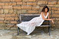 Woman relaxing in lace nightgown Royalty Free Stock Photo