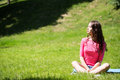 Woman relaxing outdoors. Royalty Free Stock Photo