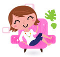Woman relaxing in sofa Royalty Free Stock Image