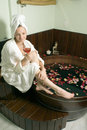 Woman Relaxing at a Spa - Vertical Royalty Free Stock Images