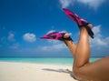 Woman Relaxing On Summer Beach...