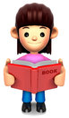 A woman reported a book. 3D Family Character Royalty Free Stock Images