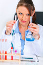 Woman researcher working with tests in laboratory Royalty Free Stock Photos