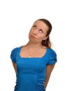 Woman resentment and pondered in a blue dress thought but if she paid taxes Stock Photography