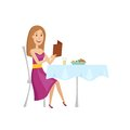The woman in the restaurant for dinner. Flat and cartoon style.Vector illustration on a white background.