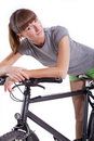 Woman resting on her bike Royalty Free Stock Photography