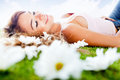 Woman resting outdoors Royalty Free Stock Image