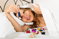 Woman resting with sweet candy Royalty Free Stock Photo