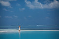 Woman rests at beautiful seashore caucasian Royalty Free Stock Photography