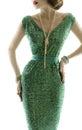 Woman retro fashion dress, sparkle sequin gown, elegant clothing Royalty Free Stock Photo