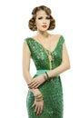 Woman retro fashion portrait in sparkle elegant sequin dress Royalty Free Stock Photo