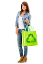 Woman with a reusable bag Royalty Free Stock Images