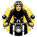 Woman ride a motorcycle Royalty Free Stock Photo