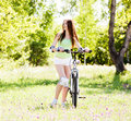 Woman riding a bicycle Royalty Free Stock Photography