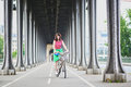 Woman Riding A Bicycle On A St...