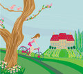 Woman riding a bike on a spring day illustration Royalty Free Stock Images