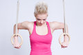 Woman on rings Royalty Free Stock Images