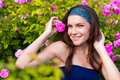 Woman in rose garden beautiful young Royalty Free Stock Photos