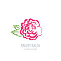 Woman with rose petals in hair. Vector beauty floral logo.