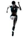 Woman runner jogger jumping Stock Photo