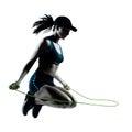 Woman runner jogger jumping rope Royalty Free Stock Photo