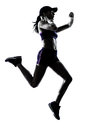 Woman runner jogger silhouette one in studio isolated on white background Royalty Free Stock Photo