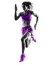 Woman runner running jogger jogging silhouette Royalty Free Stock Photo