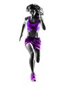Woman runner running jogger jogging silhouette one caucasian in studio isolated on white background Stock Photography
