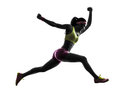 Woman runner running jumping shouting silhouette one caucasian in on white background Stock Photography