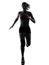 Woman runner running marathon silhouette Royalty Free Stock Photo