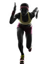 Woman runner running silhouette one caucasian in on white background Stock Photos