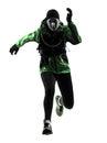 Woman runner running trekking silhouette Stock Photo