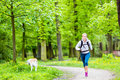 Woman runner walking with dog in summer park running and nature exercising bright forest outdoors Royalty Free Stock Photo