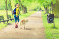 Woman Runner Walking With Dog ...