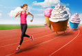 Royalty Free Stock Images Woman running away from sweets