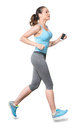 Woman Running Jogging with Earbuds Isolated on White Background Royalty Free Stock Photo