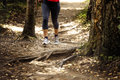 Woman runs in woods trail Royalty Free Stock Photo